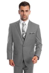 Solid Two Piece Men's Suit - LA202SA - LIGHT GREY / 34S/W28
