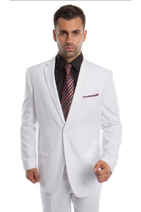 Solid Two Piece Men's Suit - LA202SA - WHITE / 34S/W28 -