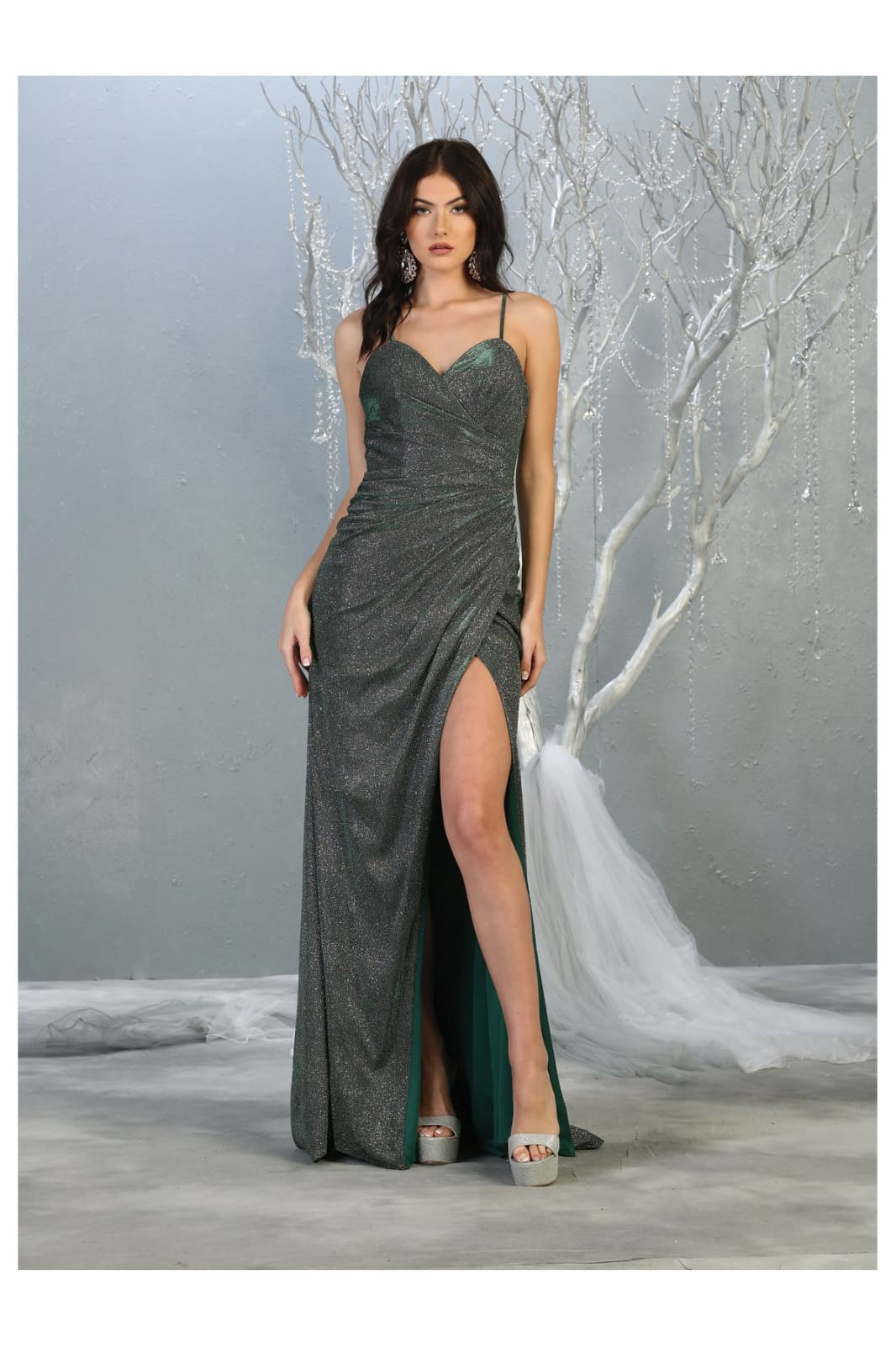 Spaghetti Strap Evening Dress LA1730 - Hunter Green / 4 -