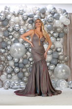 Load image into Gallery viewer, spaghetti straps full length shiny Ity dress - RQ7725 -