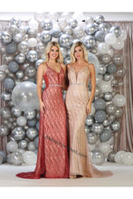 Load image into Gallery viewer, Spaghetti Straps sequins long mesh dress- MQ1689 -