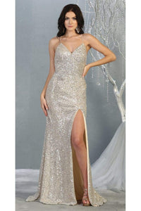 Special Occasion Sequined Dress And Plus Size - CHAMPAGNE/MULTI / 2