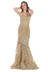 Strapless fully beaded long sequins dress - RQ7649