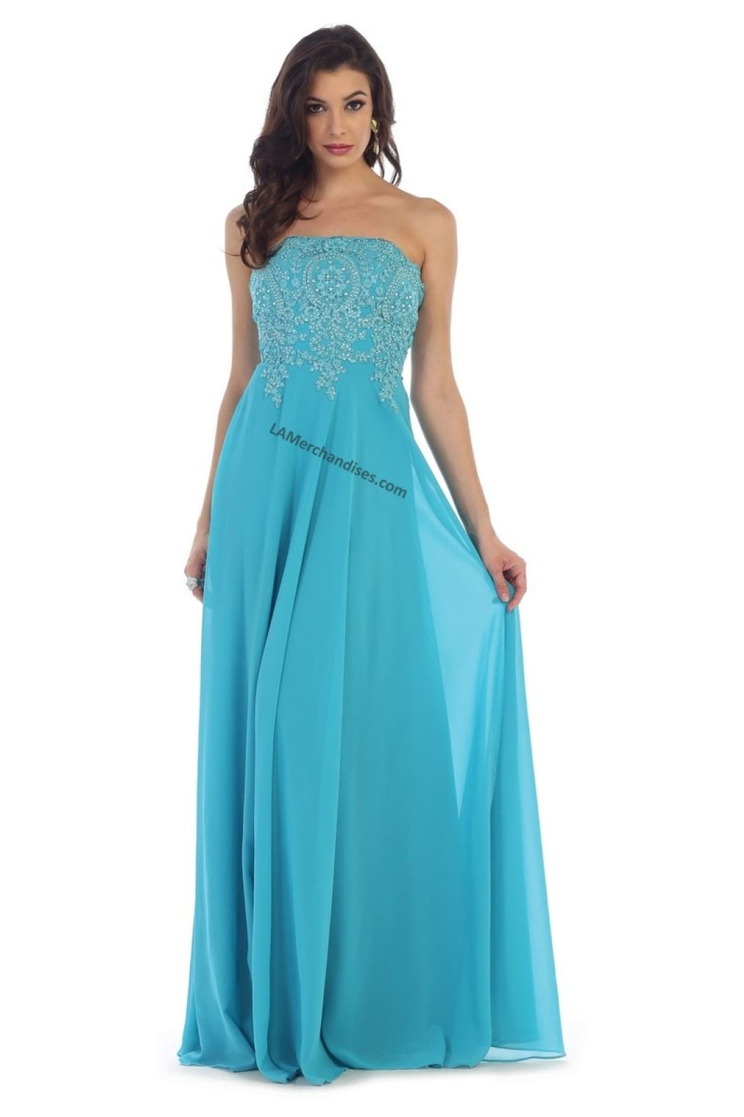 Strapless lace applique sequins PLUS size chiffon dress-