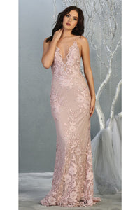 Strappy Evening Gown with Detachable Train - LA7823 - Dress