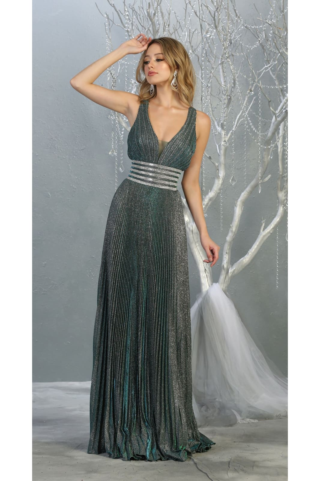 Strappy Prom Dress - LA7828 - GREEN / 2 - Dress