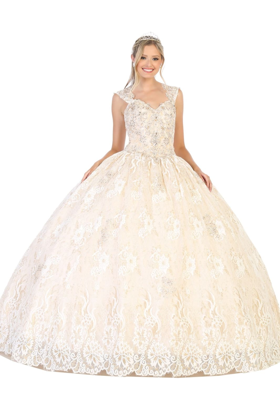 Timeless Quinceanera Ball Gown LA131 - Ivory/Gold / 12 -