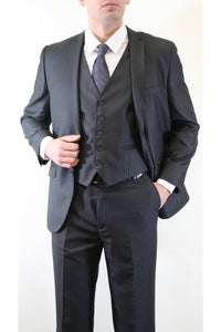 Ultra Slim Fit 3 Piece Men's Suit - LA154SA - CHARCOAL /