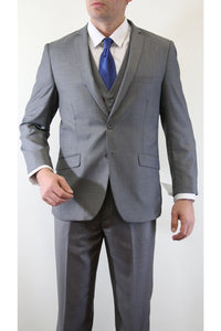 Ultra Slim Fit 3 Piece Men's Suit - LA154SA - GREY / 34S/W28
