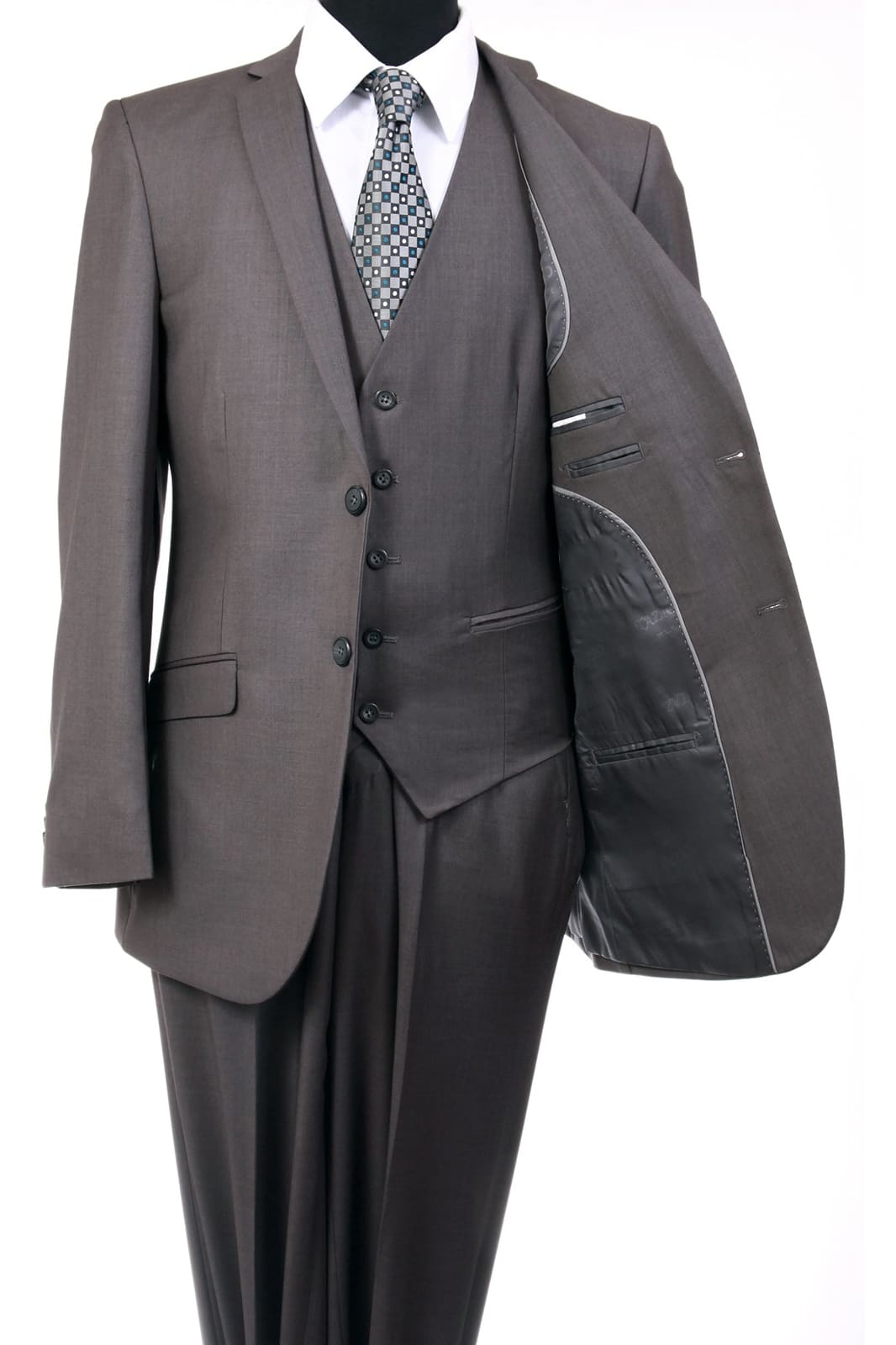 Ultra Slim Fit 3 Piece Men's Suit - LA154SA - MID GREY /