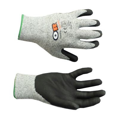 ANSI cut 5 Nitrile Grip Gloves, Style: Tuff