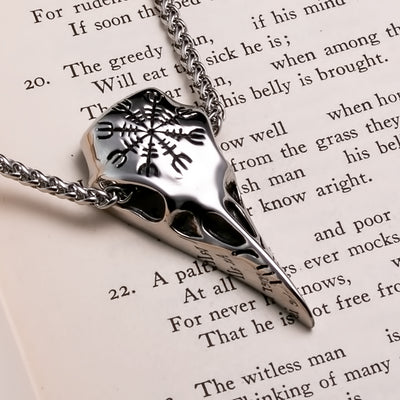 Viking Raven Skull Helm of Awe Stainless Steel Pendant Necklace