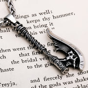 Viking Axe Long Handle Stainless Steel Pendant Necklace