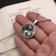 Viking Norse Dragon Yin Yang Stainless Steel Pendant Necklace