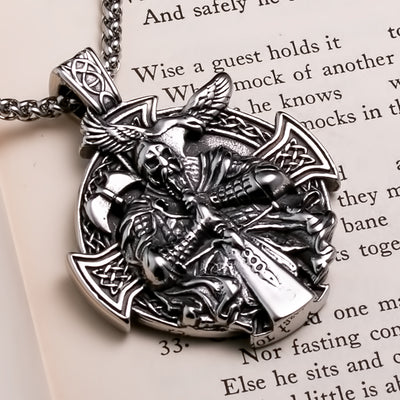 Viking Odin Warrior Raven Shield Stainless Steel Pendant Necklace