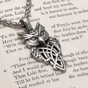 Viking Celtic Owl Stainless Steel Pendant Necklace