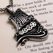Viking Long Ship Stainless Steel Pendant Necklace