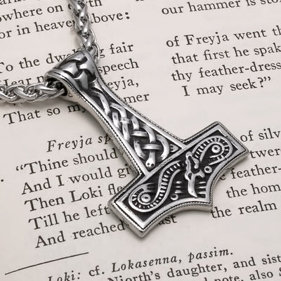 Viking Mjolnir Thor's Midgard Serpent Stainless Steel Pendant Necklace