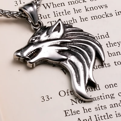 Viking Wolf Stainless Steel Pendant Necklace