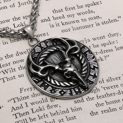 Viking Stag Elder Futhark Rune Stainless Steel Pendant Necklace