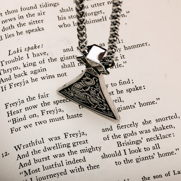 Viking Axe Norse Dragon Stainless Steel Pendant Necklace