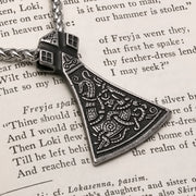 Viking Axe Ancient Norse Dragon Stainless Steel Pendant Necklace