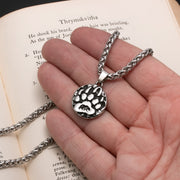 Viking Mini Bear Paw Print Stainless Steel Pendant Necklace