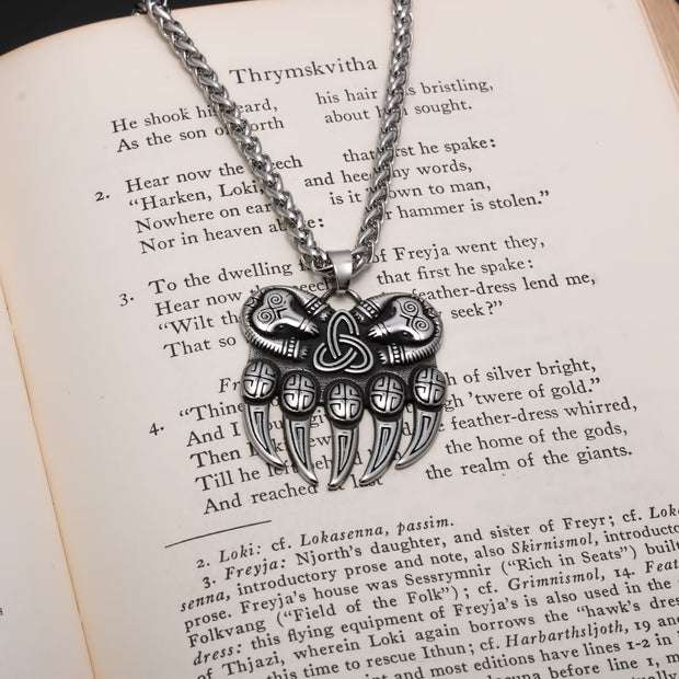 Viking Bear Paw Trinity Knot Berserker Stainless Steel Pendant Necklace