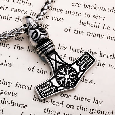 Viking Mjolnir Thor's Hammer Necklace Helm of Awe Raven Stainless Steel Necklace