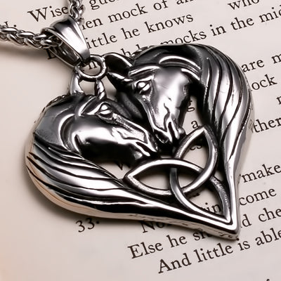 Viking Unicorn Heart Trinity Stainless Steel Pendant Necklace