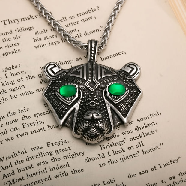 Viking Bear Head with Green Eyes Berserker Stainless Steel Pendant Necklace
