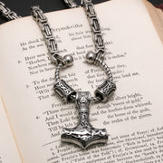 Viking Mjolnir Thor's Hammer King Rune Byzantine Necklace Stainless Steel