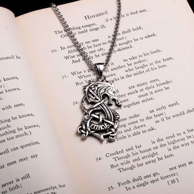 Viking Norse Dragon Fafnir Stainless Steel Pendant Necklace