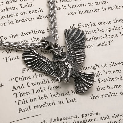 Viking Flying Owl Stainless Steel Pendant Necklace