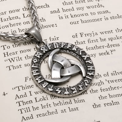 Viking Triple Crescent Horn Rune Stainless Steel Pendant Necklace