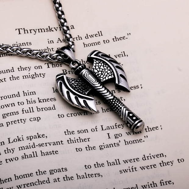 Viking Axe Double Head Stainless Steel Pendant Necklace
