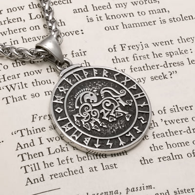 Viking Sleipnir Rune Stainless Steel Pendant Necklace
