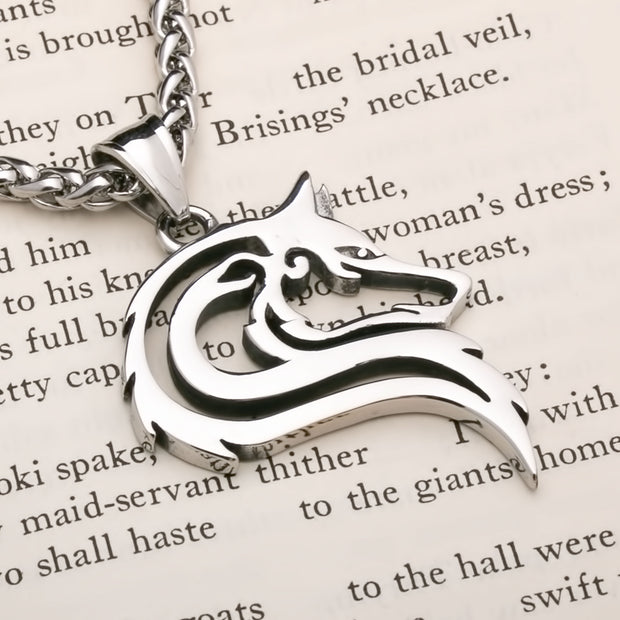 Viking Fenrir Wolf Head Open Stainless Steel Pendant Necklace