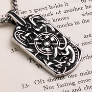 Viking Ship Helm Talisman Stainless Steel Pendant Necklace