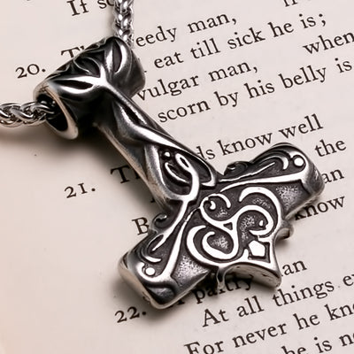 Viking Mjolnir Thor's Hammer Triskele Plait Stainless Steel Pendant Necklace