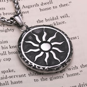 Viking Sun Wheel Medallion Stainless Steel Pendant Necklace