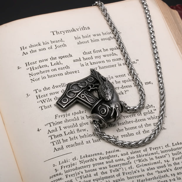 Viking Mjolnir Thor's Hammer Raven Stainless Steel Pendant Necklace