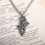 Viking Norse Dragon Knot Work Stainless Steel Pendant Necklace
