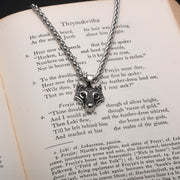 Viking Fenrir Wolf Head Stainless Steel Pendant Necklace