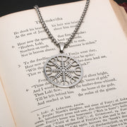 Viking Helm of Awe Rune Stainless Steel Pendant Necklace