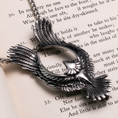 Viking Flying Raven Stainless Steel Pendant Necklace