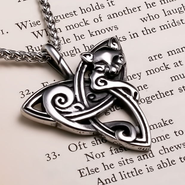 Viking Trinity Freya's Cat Stainless Steel Pendant Necklace