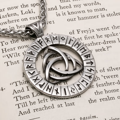 Viking Celtic Trinity Knot Rune Medallion Stainless Steel Pendant Necklace