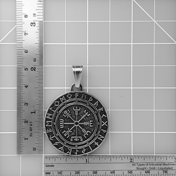 Viking Vegvisir Compass Rune Stainless Steel Pendant Necklace