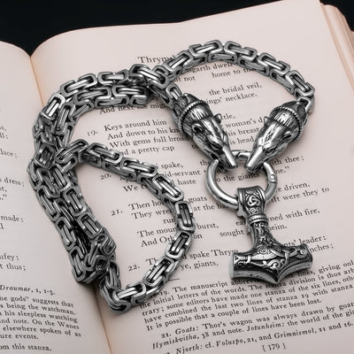 Viking Mjolnir Thor's Hammer King Bear Byzantine Necklace Stainless Steel